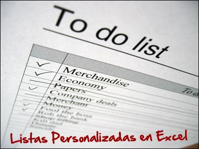 Lista personalizada en Microsoft Excel