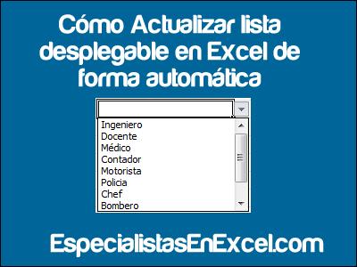 Actualizar lista desplegable en Excel