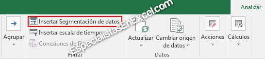 Segmentación de datos en tabla dinámica de excel