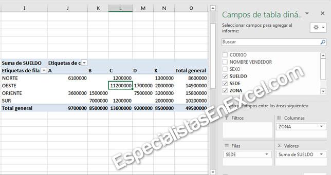 Seleccionar los campos de la tabla dinámica